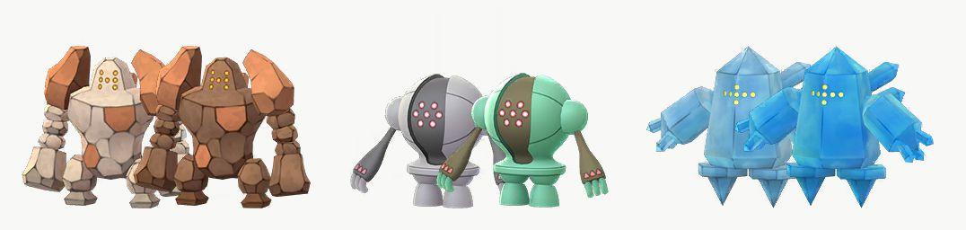 Shiny Regirock, Registeel, and Regice, with their regular forms in Pokémon Go