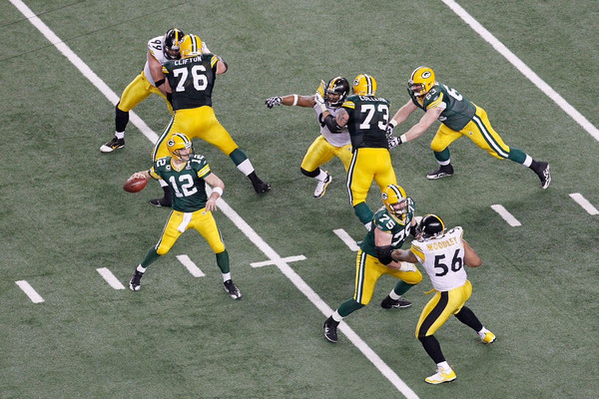 ARLINGTON TX - FEBRUARY 06:  Aaron Rodgers #12 of the Green Bay Packers drops back to pass against the Pittsburgh Steelers during Super Bowl XLV at Cowboys Stadium on February 6 2011 in Arlington Texas.  (Photo by Tom Pennington/Getty Images)
