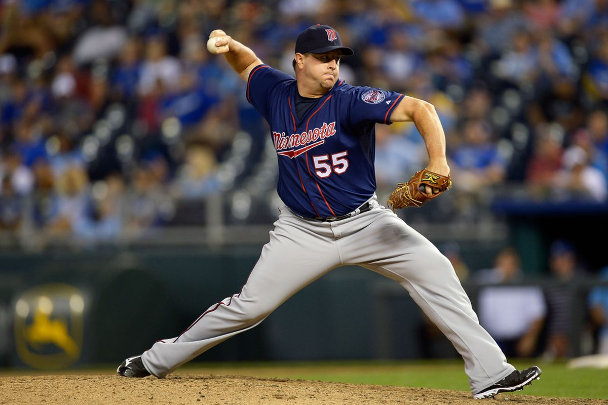 KANSAS CITY, MO - JUNE 06:  Matt Capps #55 of the Minnesota Twins pitches during the game against the Kansas City Royals on June 6, 2012 at Kauffman Stadium in Kansas City, Missouri.  (Photo by Jamie Squire/Getty Images)