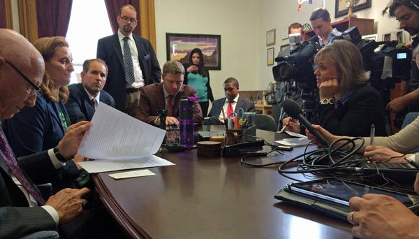 Reporters packed Senate President Morgan Carroll's office for a final briefing on the legislature's final day.