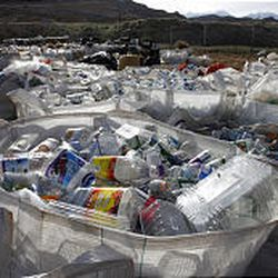 Recyclables such as plastic bottles come from Adopt-A-Highway pickups and ball field recycling bins as well as from individuals.