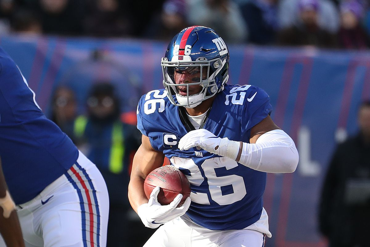 Saquon Barkley of the New York Giants in action against the Miami Dolphins during their game at MetLife Stadium on December 15, 2019 in East Rutherford, New Jersey.