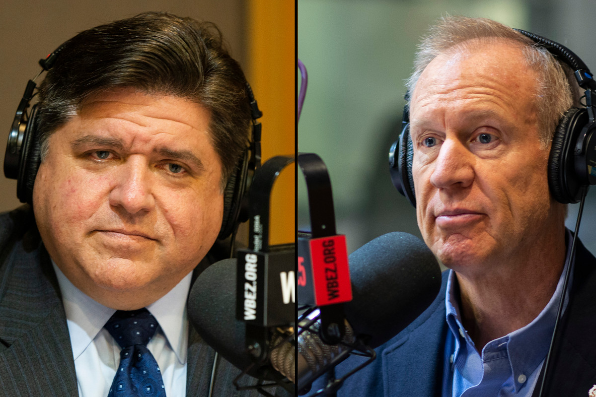 Democratic candidate J.B. Pritzker, left, and Gov. Bruce Rauner talked education policy with Chalkbeat Chicago and WBEZ education for the series Testing the Candidates.