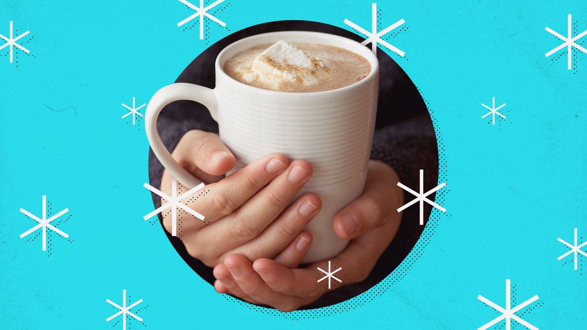 A pair of hands holding a mug of hot chocolate. Surrounded by a snowflake pattern.