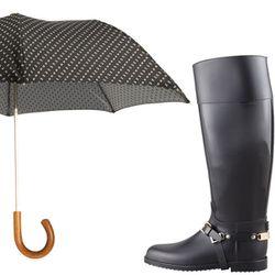 "<b>Barneys New York</b> Mini Paisley Umbrella, <a href=""http://www.barneys.com/Barneys-New-York-Mini-Paisley-Umbrella/00505024484756,default,pd.html?q=umbrella&index=0"">$220</a> + <b>Jimmy Choo</b> Cheshire Stirrup-Strap Rain Boot, <a href=""http://www.ber"