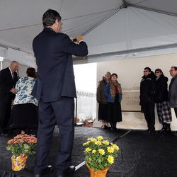 David Wills takes a photo of the Dean Lake Family from Montpellier, Idaho, following the cornerstone ceremony of the Star Valley Wyoming Temple in Afton, Wyoming, on Sunday, Oct. 30, 2016.