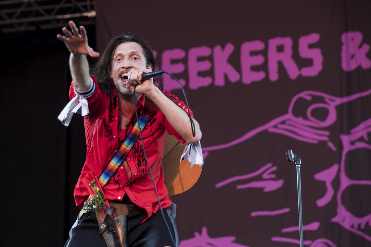 Eugene Hütz of Gogol Bordello performs on Day 3 of Riot Fest in Douglas Park on Saturday night.