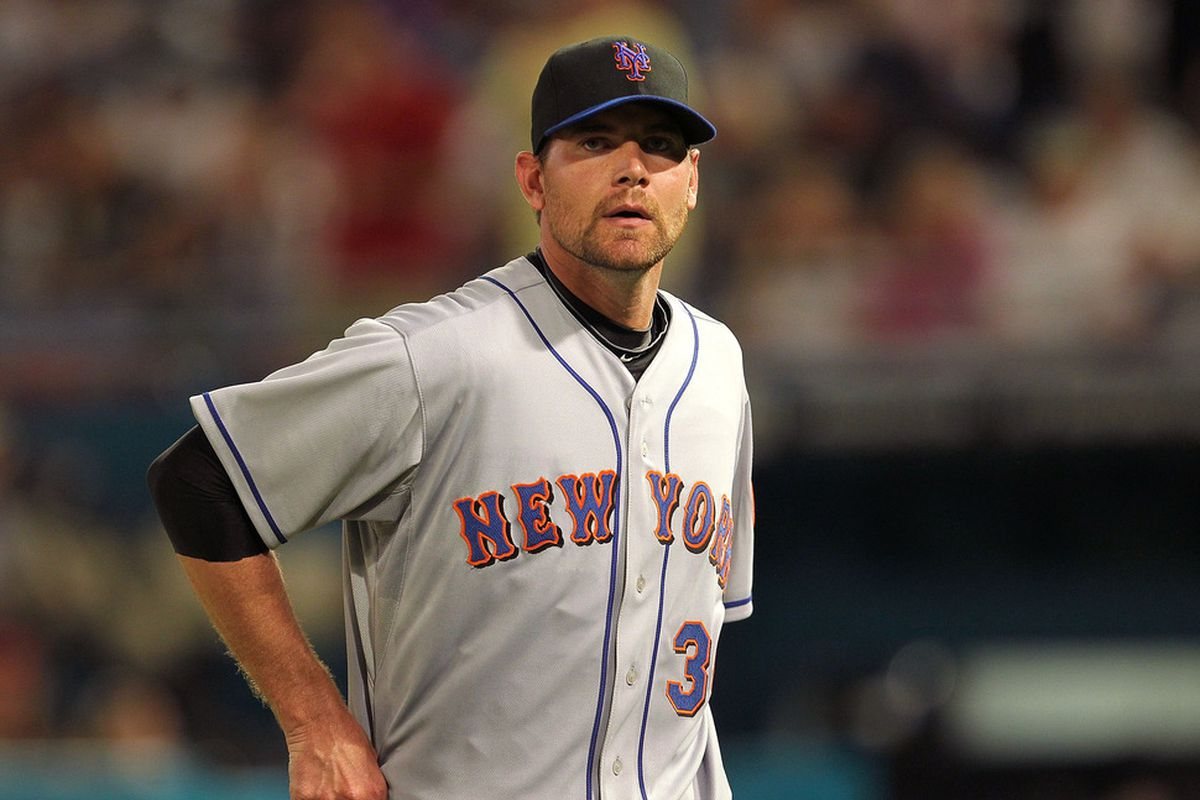 Mike Pelfrey lasted two innings and allowed seven runs against the Phillies Wednesday night.  (Photo by Mike Ehrmann/Getty Images)