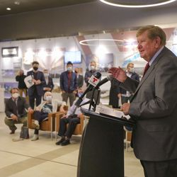 Kem C. Gardner, former Salt Lake City Advisory Board chairman, speaks during a ceremony to mark the 100-year anniversary of the Salt Lake City International Airport in Salt Lake City on Monday, Dec. 21, 2020.