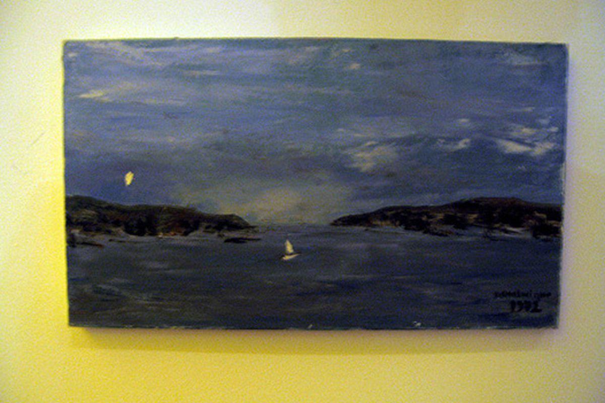 Dominique Crenn's painting at Atelier Crenn.