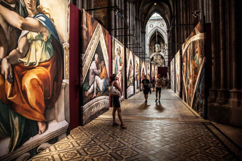 """""""Our exhibit features life-sized [floor-to-ceiling] re-creations of the frescoes, making them almost look like we peeled the frescoes off the ceiling walls and are now taking them on a worldwide tour,"""" says Martin Biallas, the founder and CEO of Special Entertainment Events, of what to expect at """"Michelangelo's Sistine Chapel: The Exhibition."""""""
