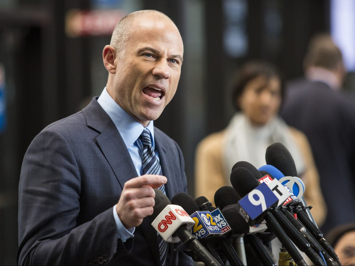 Attorney Michael Avenatti, who is representing an alleged R. Kelly victim, speaks to reporters at the Leighton Criminal Courthouse after the R&B singer entered a not guilty plea to all 10 counts of aggravated criminal sexual abuse, Monday, Feb. 25, 20