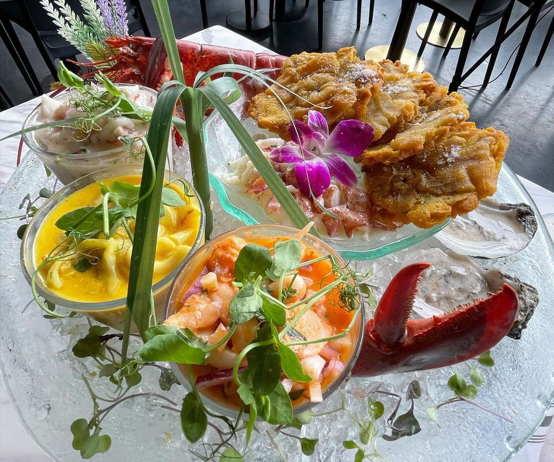 Beautiful, colorful dinner plate of ceviche