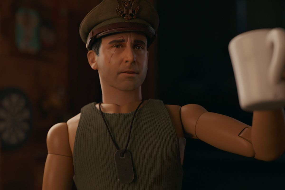 Cap'n Hogie (Steve Carell), the doll alter-ego for artist Mark Hogancamp (Carell), in Welcome to Marwen, directed by Robert Zemeckis.