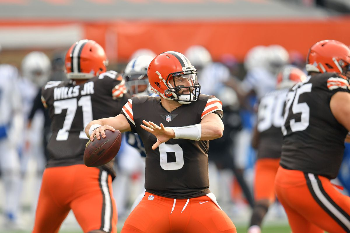 Quarterback Baker Mayfield #6 of the Cleveland Browns passes during the first half against the Indianapolis Colts at FirstEnergy Stadium on October 11, 2020 in Cleveland, Ohio. The Browns defeated the Colts 32-23.