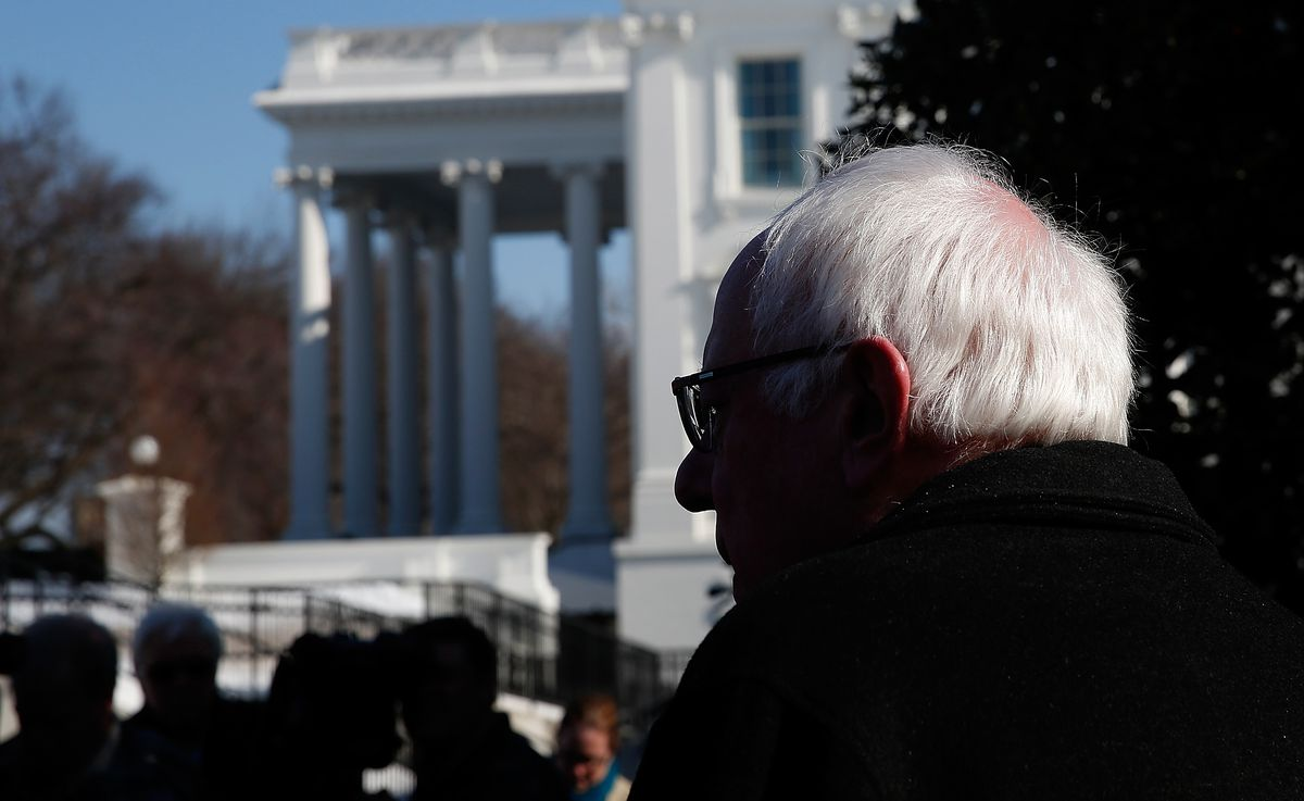 Democratic Presidential Candidate Sen. Bernie Sanders Speaks At The White House After Meeting With Obama