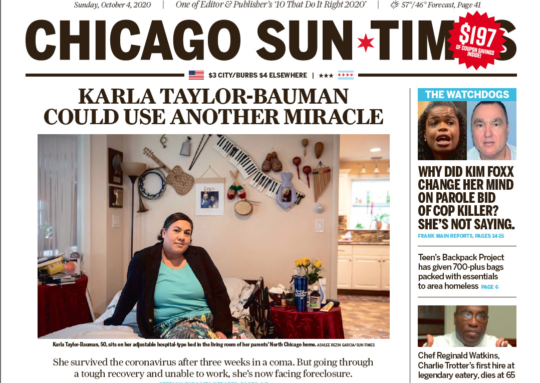Read the Sun-Times' Oct. 4, 2020, report on Karla Taylor-Bauman.