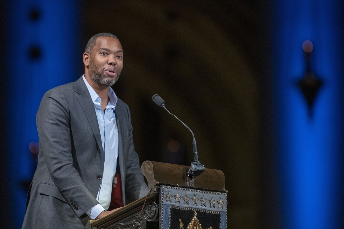Ta-Nehisi Coates speaks during the Celebration of the Life of Toni Morrison at the Cathedral of St. John the Divine in New York Nov. 21, 2019.