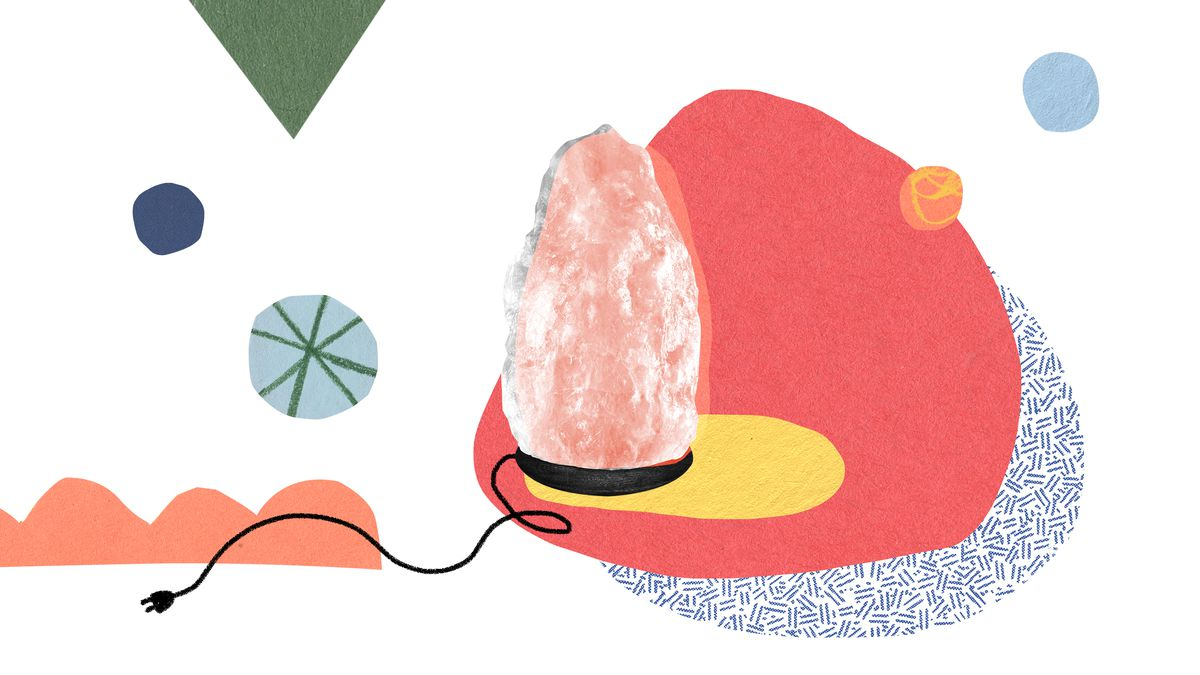 A large pink salt crystal lamp on a black base with an unplugged cord. Illustration.