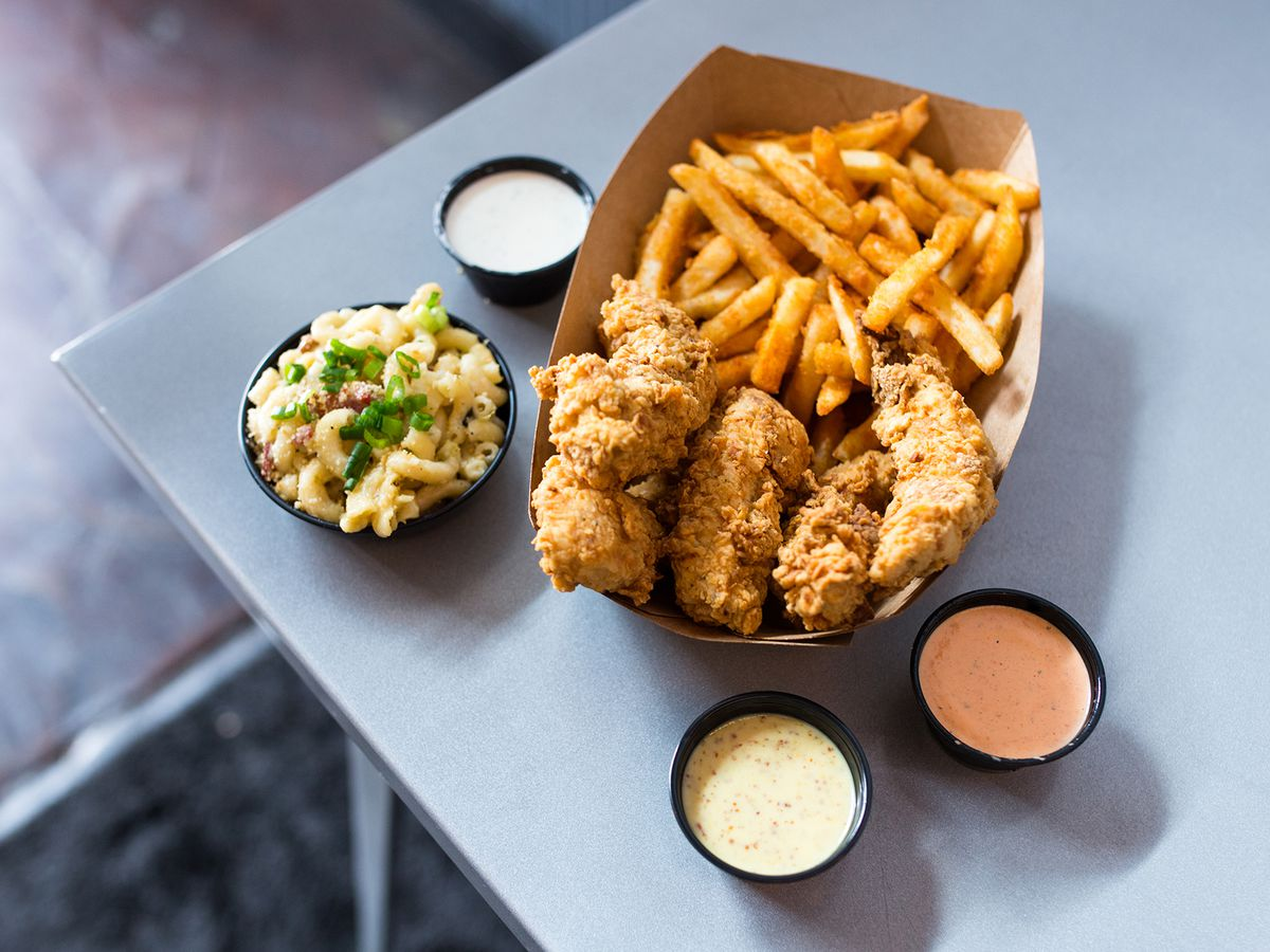 Happy Chicks's chicken tenders and fries