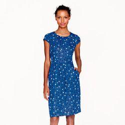 "Silk cap-sleeve <a href=""http://www.jcrew.com/AST/Navigation/Sale/AllProducts/PRDOVR~06238/99103172721/ENE~1+2+3+22+4294967294+20+225~~~21+17+4294966902~90~~~~~~~/06238.jsp?isSaleItem=true&isFromSale=true"">dress</a> in abstract dot, $60 (originally $198)."