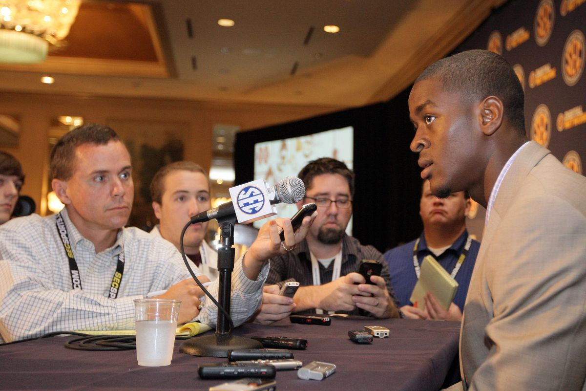 July 18, 2012; Hoover, AL, USA;  Mississippi State Bulldogs defensive back Johnthan Banks talks with reporters at the 2012 SEC media days event at the Wynfrey Hotel.   Mandatory Credit: Marvin Gentry-US PRESSWIRE