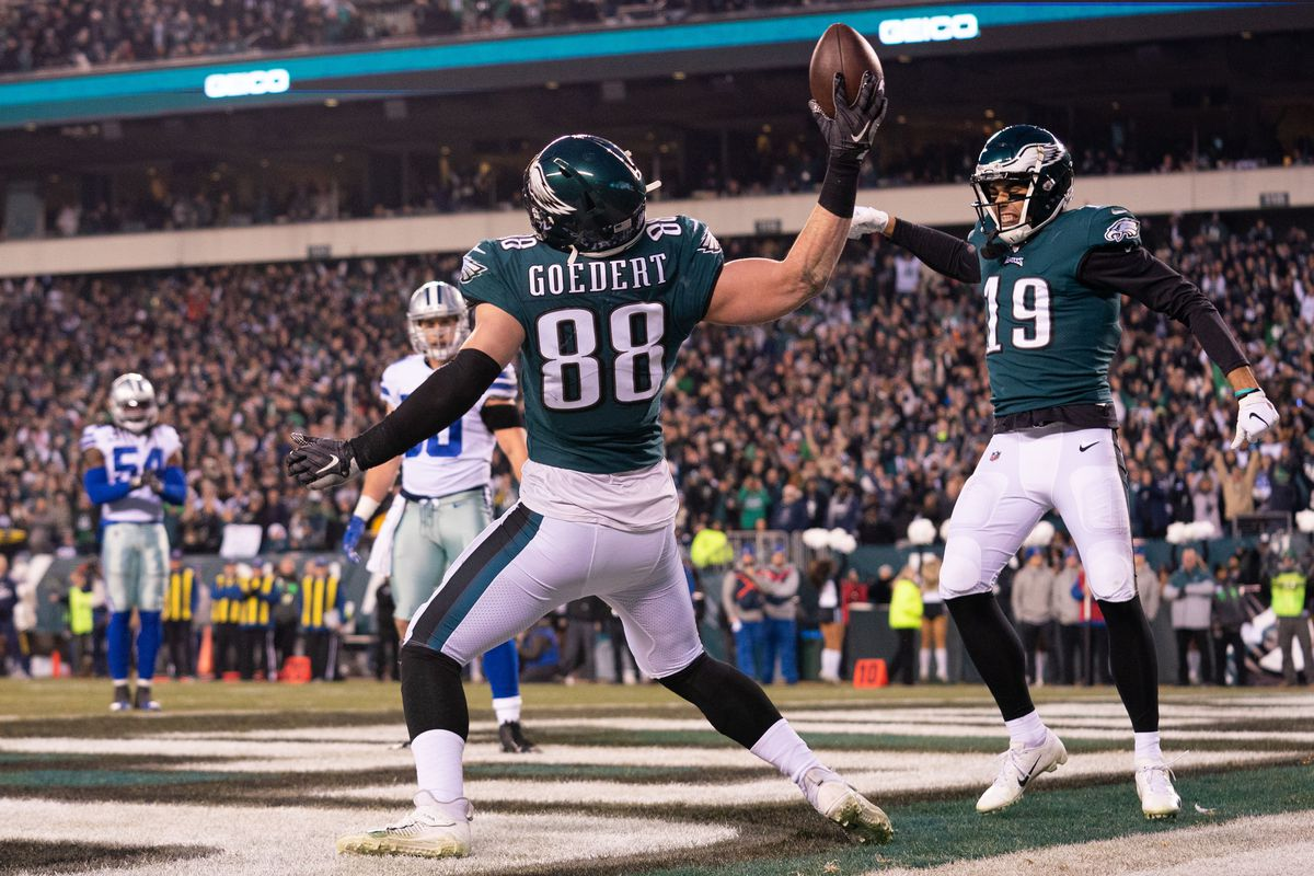 Philadelphia Eagles tight end Dallas Goedert reacts after his touchdown against the Dallas Cowboys during the first quarter at Lincoln Financial Field