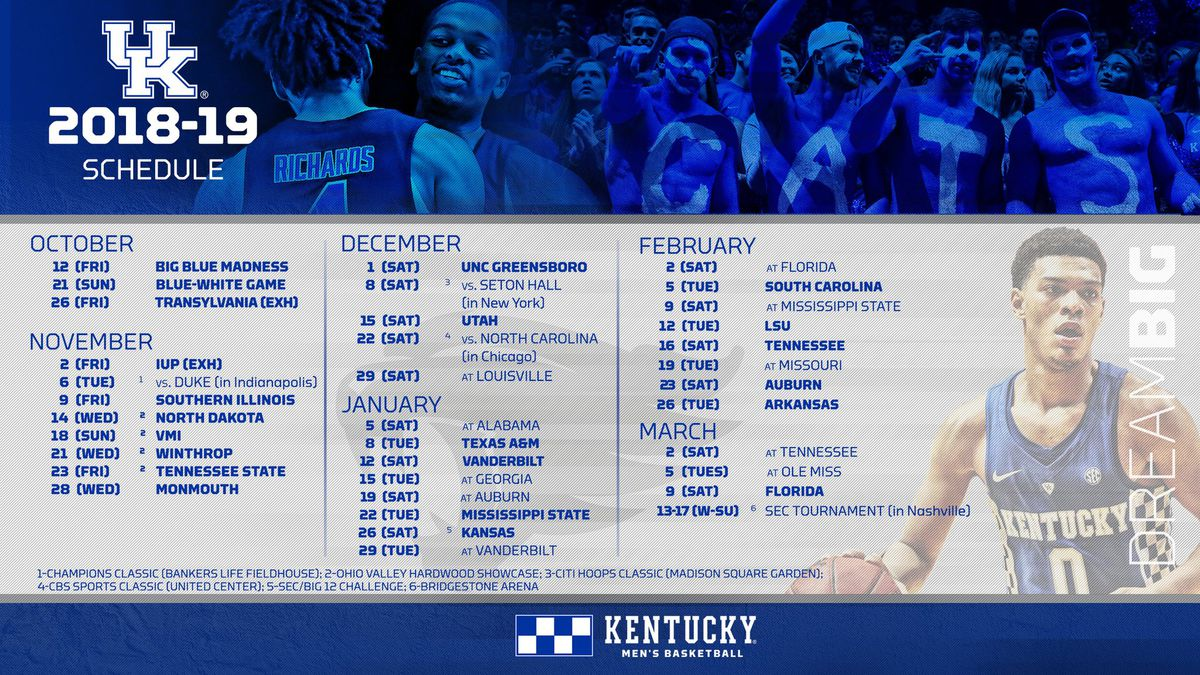 kentucky wildcats basketball 2018-19 schedule, channels, dates and