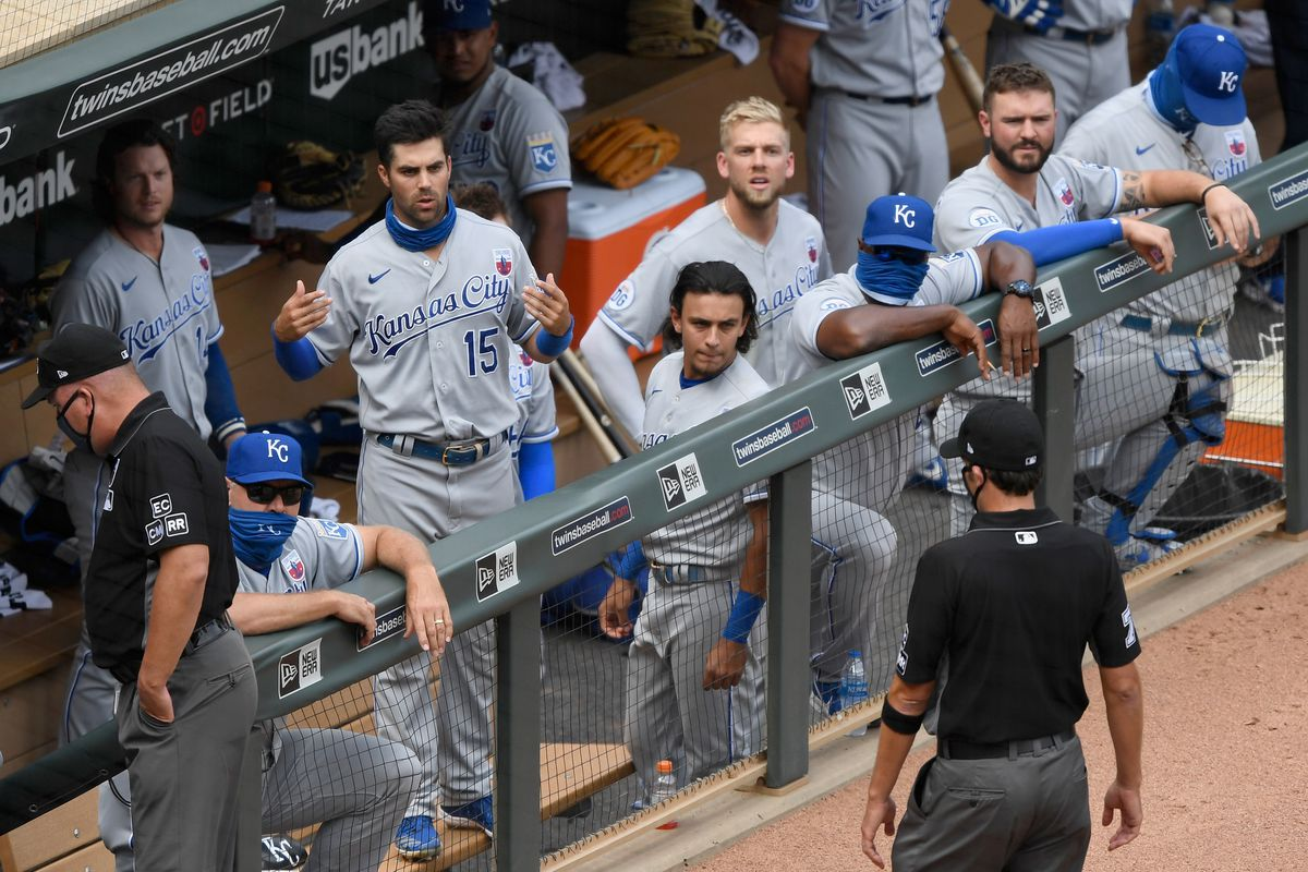The Kansas City Royals players speak to the umpires after the game against the Minnesota Twins at Target Field on August 16, 2020 in Minneapolis, Minnesota. The Twins defeated the Royals 4-2.