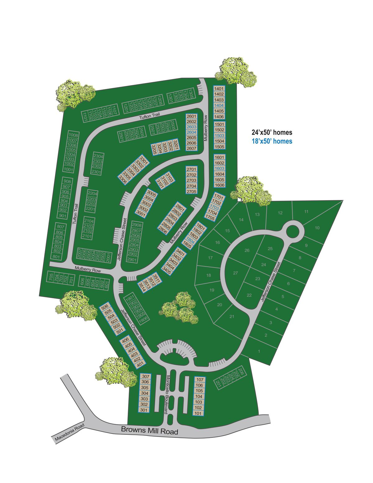 A large green site plan of a townhome development.
