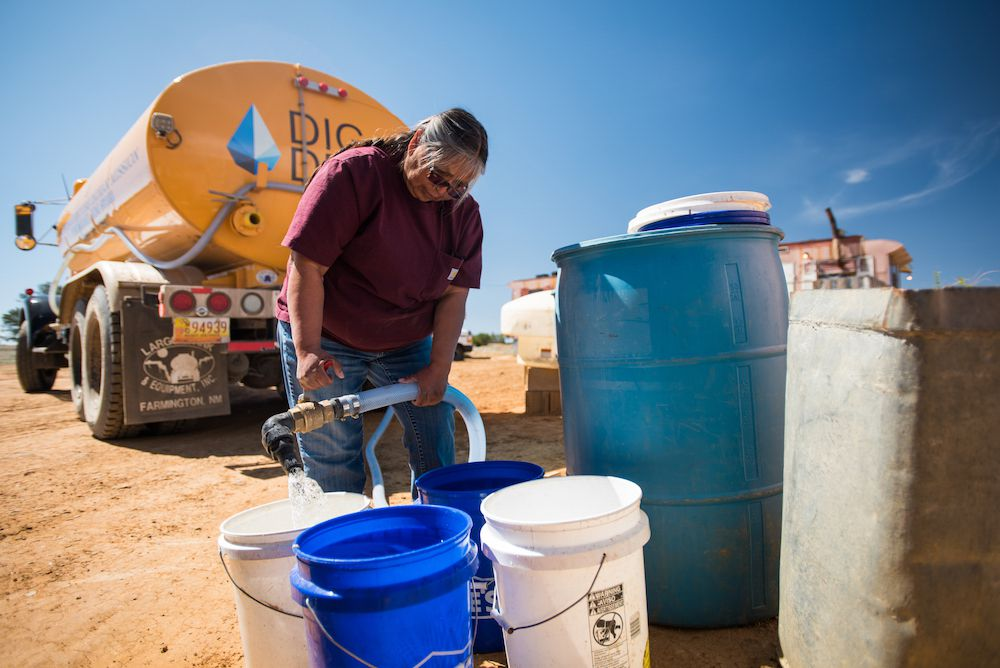"""Darlene Arviso has come to be known as """"the water lady."""" She delivers water by truck to more than 250 households across the Navajo Nation."""