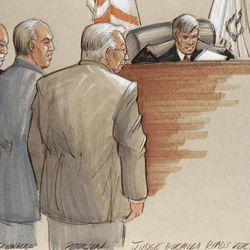 In this courtroom sketch, defense lawyers, Joel Brodsky, left, Steven Greenberg, and defendant Drew Peterson, right, stand before Presiding Judge Edward Burmila as he reads the verdict in Peterson's murder trial. after a jury convicted the former Bolingbrook, Ill., police officer of murdering his third wife, Kathleen Savio, in 2004. Peterson, the swaggering former suburban Chicago police officer who generated a media storm after his much-younger fourth wife, Stacy Peterson, vanished in 2007, was convicted in a case based mainly on secondhand hearsay statements from the two women.