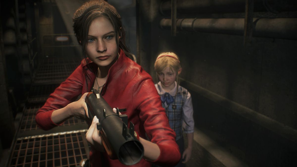 Claire aims her gun into the darkness in Resident Evil 2