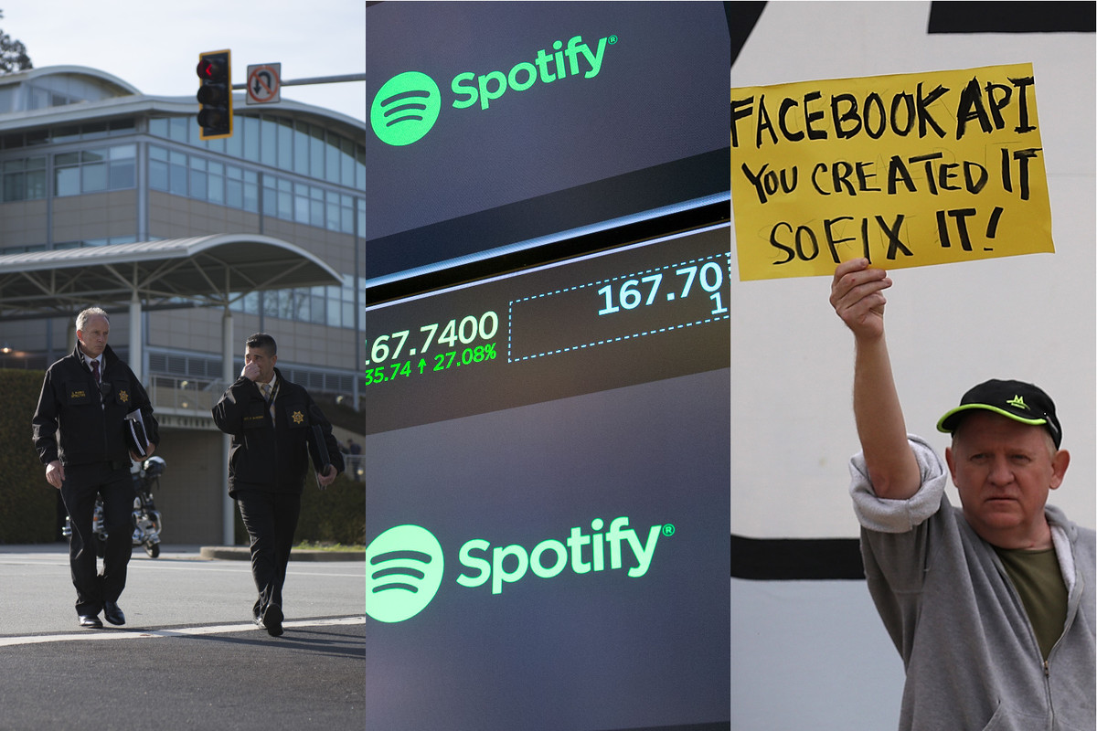 Police outside YouTube's headquarters in San Bruno, Calif; Spotify's stock price on IPO day; a protester outside Facebook headquarters