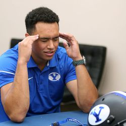 Tight end Moroni Laulu-Pututau talks about concentrating during an interview at BYU Football Media Day at BYU Broadcasting in Provo on Friday, June 23, 2017.