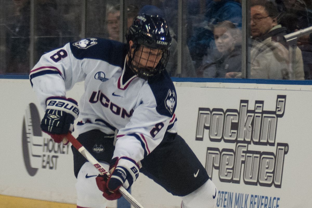 Spencer Naas scored the lone goal for the Huskies Tuesday night against No. 2 Boston College.