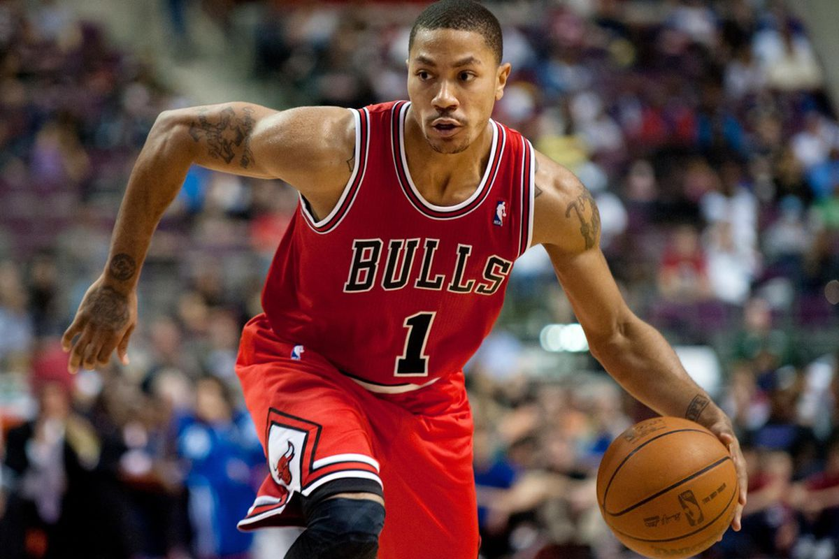 April 15, 2012; Auburn Hills, MI, USA; Chicago Bulls point guard Derrick Rose (1) drives to the basket against the Detroit Pistons during the second quarter  at The Palace. Mandatory Credit: Tim Fuller-US PRESSWIRE