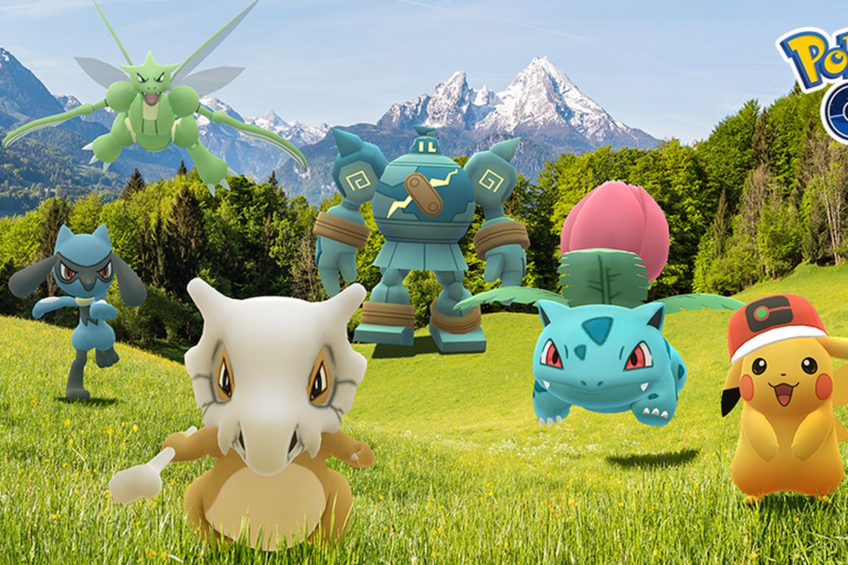Several anime-themed Pokémon like Cubone and Ivysaur run in a meadow