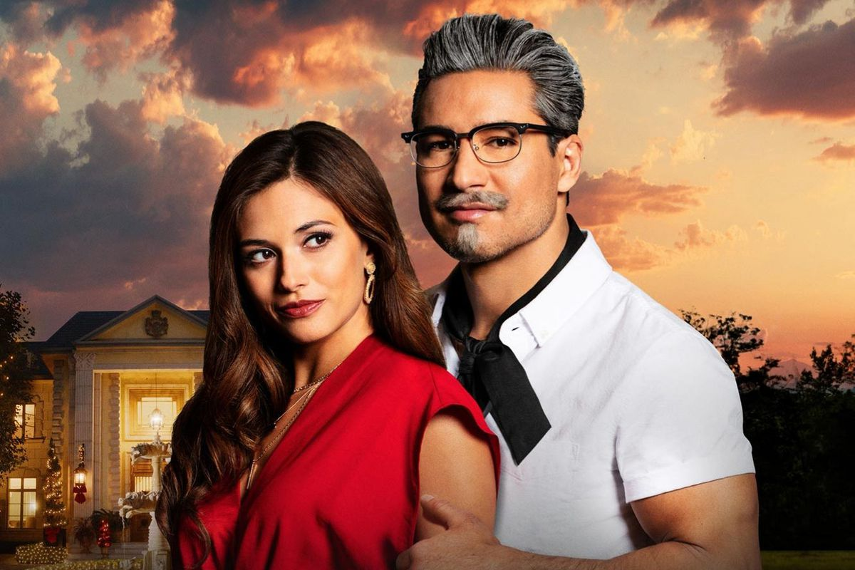 """On the left, a pretty woman wearing a red dress. On the right, a """"hot Colonel Sanders"""" with glasses, ascot, tight shirt, and salt-and-pepper hair."""