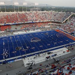 The stadium begins to fill as Boise State prepares to host Brigham Young University in NCAA football in Boise, Thursday, Sept. 20, 2012.