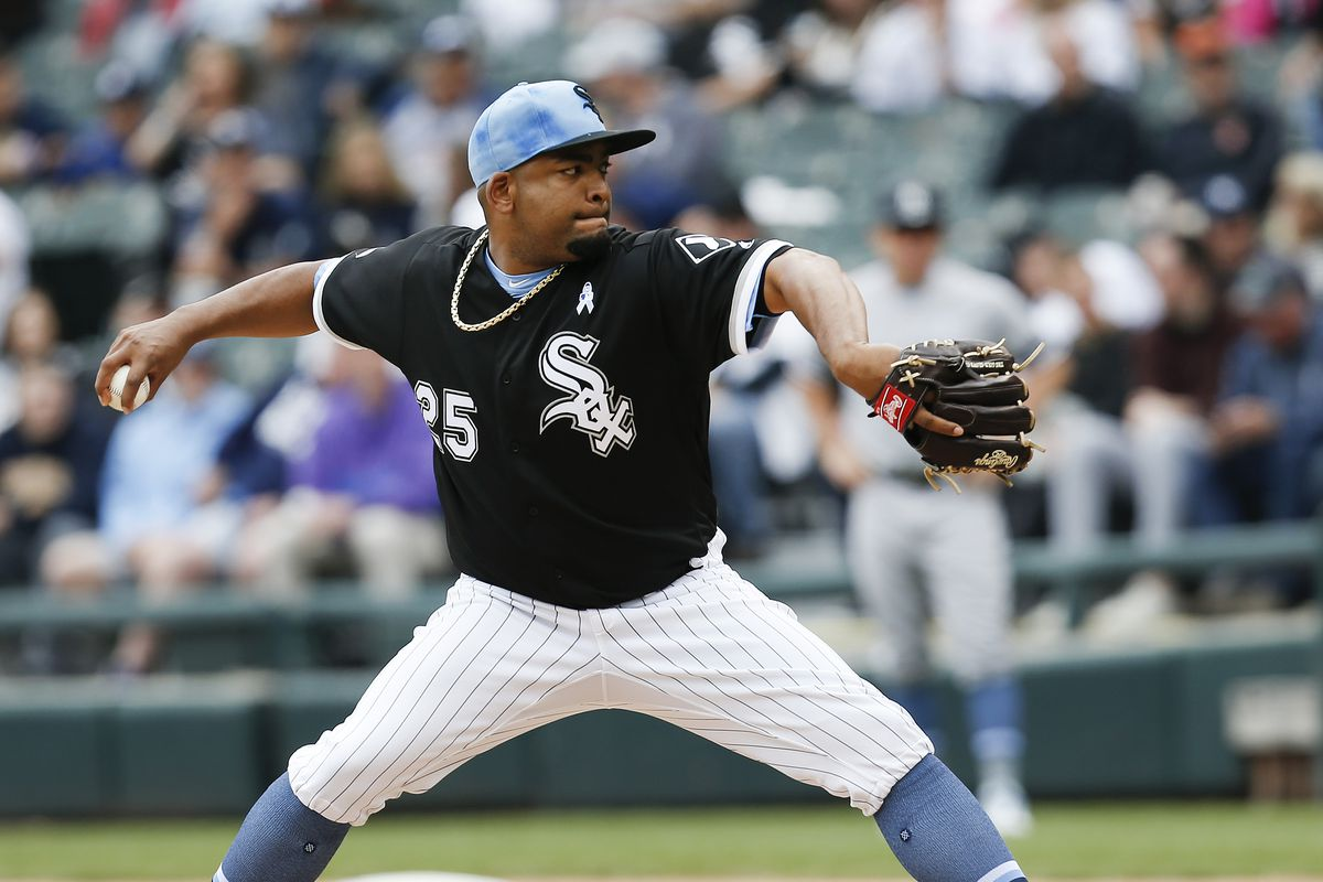 Odrisamer Despaigne of the Chicago White Sox pitches in the first inning during the game against the New York Yankees at Guaranteed Rate Field on June 16, 2019 in Chicago, Illinois.