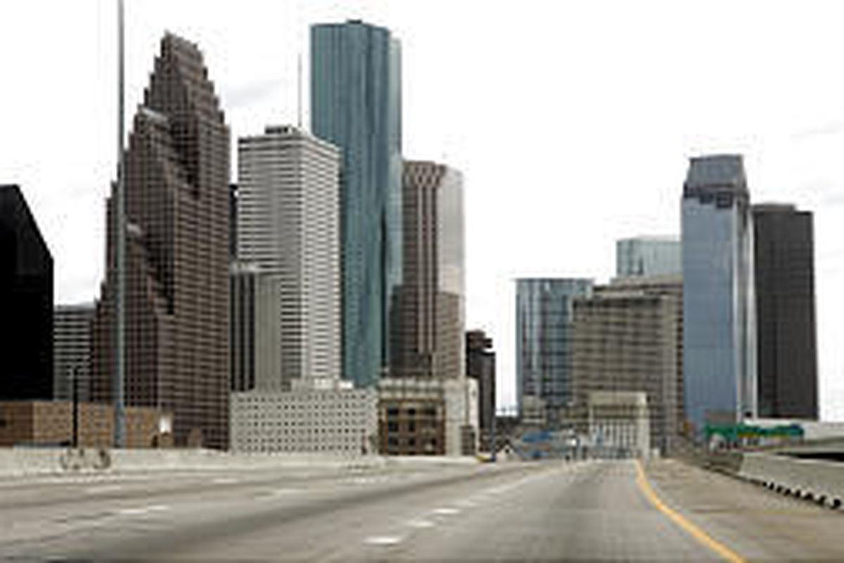 Interstate 45 sits empty near downtown Houston Friday amid evacuation from Hurricane Rita, which was expected to hit today.