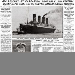 """ADVANCE FOR USE SUNDAY, APRIL 8, 2012 AND THEREAFTER - This image provided by the New York Times shows its April 16, 1912 front page coverage of the Titanic disaster. The largest ship afloat at the time, the Titanic sank in the north Atlantic Ocean on April 15, 1912, after colliding with an iceberg during her maiden voyage from Southampton to New York City. It was a news story that would change the news. From the moment that a brief Associated Press dispatch relayed the wireless distress call _ """"Titanic ... reported having struck an iceberg. The steamer said that immediate assistance was required"""" _ reporters and editors scrambled. In ways that seem familiar today, they adapted a dawning newsgathering technology and organized saturation coverage and managed to cover what one authority calls """"the first really, truly international news event where anyone anywhere in the world could pick up a newspaper and read about it."""""""