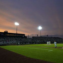 """The New York Yankees play the Chicago White Sox during a baseball game, Thursday, Aug. 12, 2021 in Dyersville, Iowa. The Yankees and White Sox are playing at a temporary stadium in the middle of a cornfield at the """"Field of Dreams"""" movie site, the first Major League Baseball game held in Iowa."""