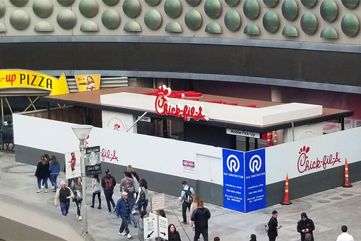 The exterior of the under construction, first Chick-fil-A headed to the Las Vega Strip.