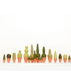 """Set of 18 <a href=""""http://www.stadler-kahn.com/shop/product/heidis-bleachers-garden/"""">felted wool topiaries</a> by local artist Heidi Bleacher, $420 at stadler-Kahn"""