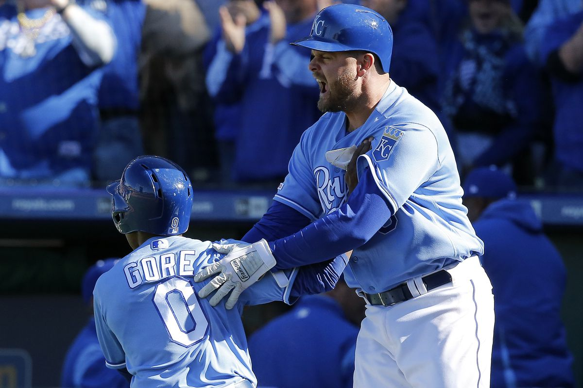 Lucas Duda #9 of the Kansas City Royals celebrates with Terrance Gore #0 after Gore scored the winning run on a single by Hunter Dozier #17 in the ninth inning during the game against the Cleveland Indians at Kauffman Stadium on April 14, 2019 in Kansas City, Missouri.