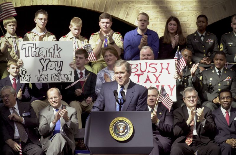 President George W. Bush during a five day, two state trip through Arkansas and Georgia promoting his 1.6 trillion dollar tax cut, on March 1, 2001.