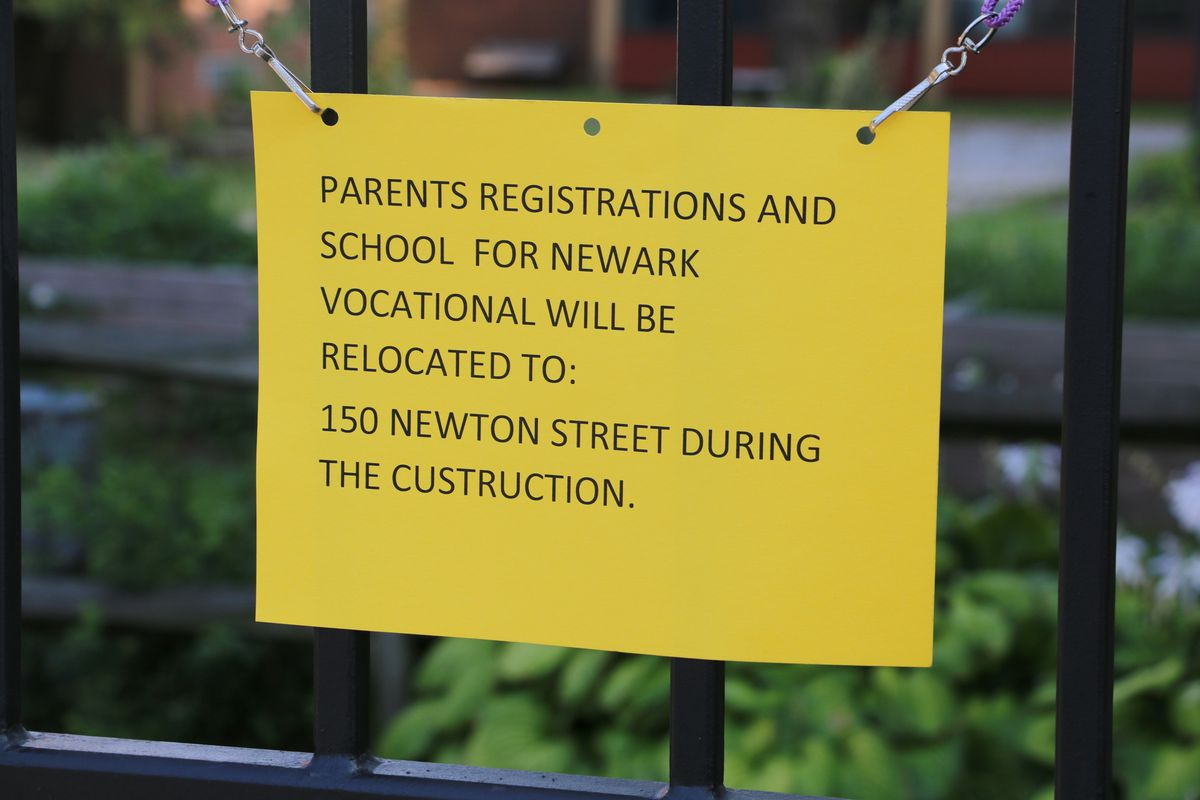 A sign outside Newark Vocational High School's building at 301 W. Kinney St.