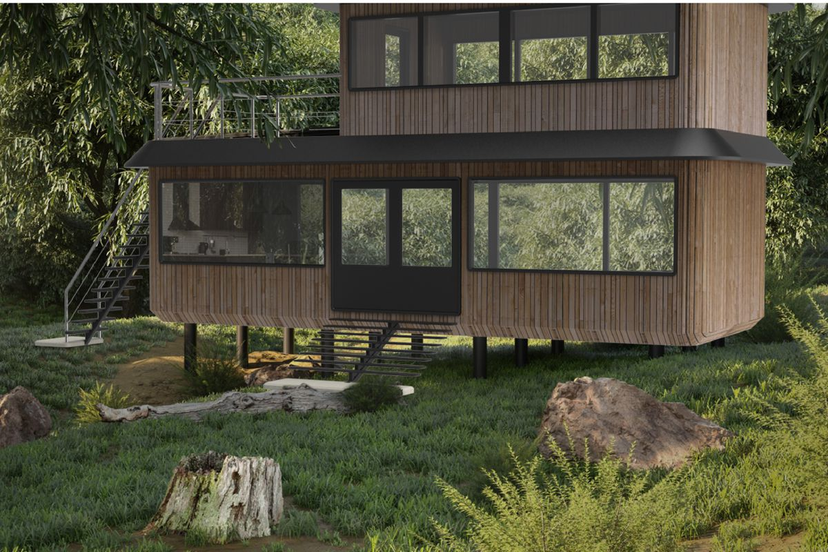 Rendering of wood prefabricated house in forest
